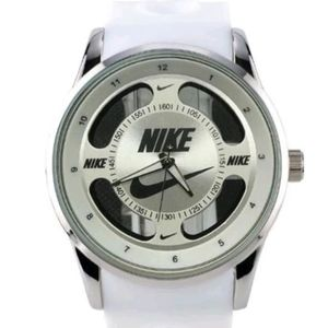 Nike Swoosh Watch Sport Silicone Band White Strap Silver Face Dial Wristwatch